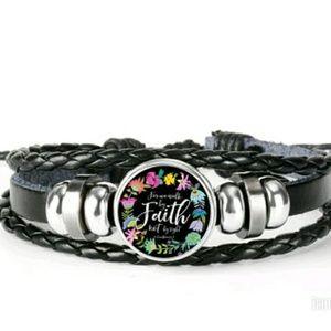 Jewelry - Unisex Faith glass face button leather bracelet